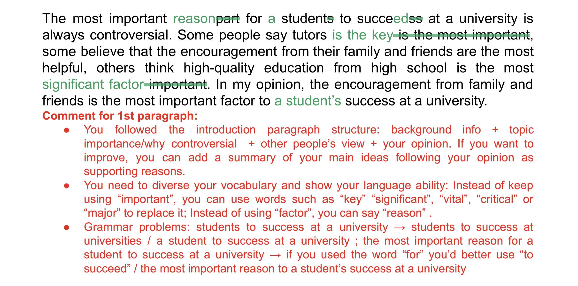 TOEFL ライティング 添削例 イントロ