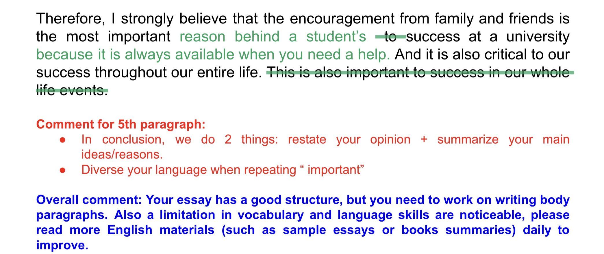 TOEFL ライティング 添削例 コンクルージョン
