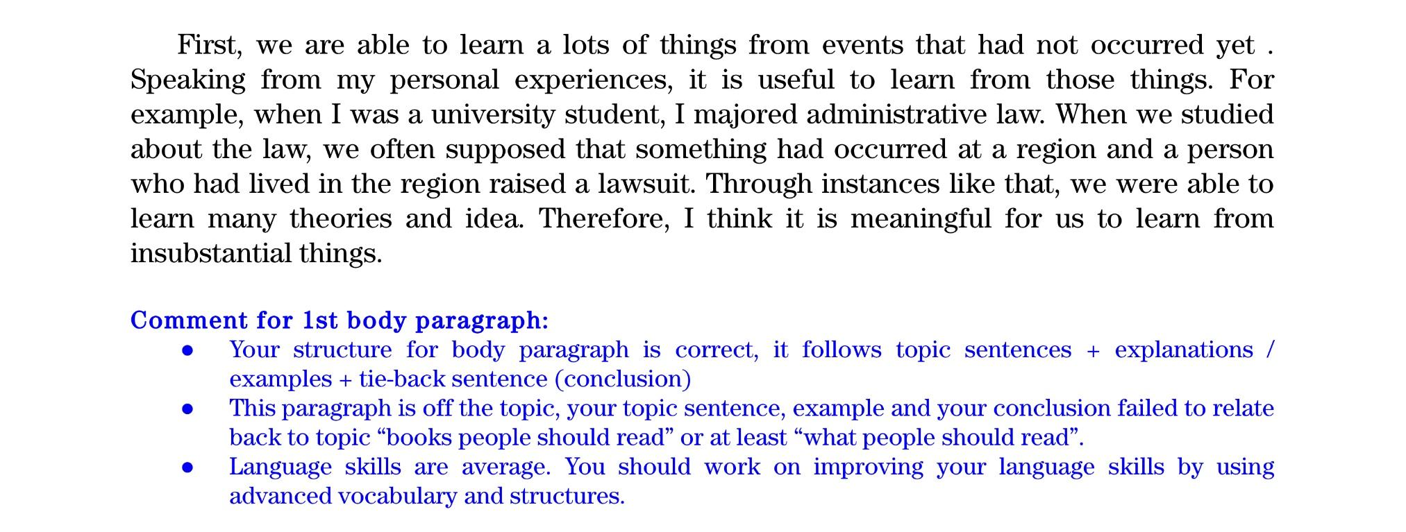 TOEFL ライティング 添削例❷ ボディ1