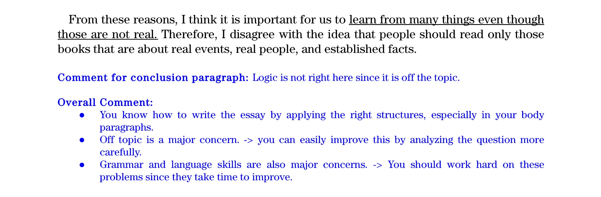 TOEFL ライティング 添削例❷ コンクルージョン