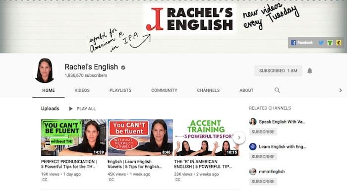 Rachel Englsih YouTubeチャンネル