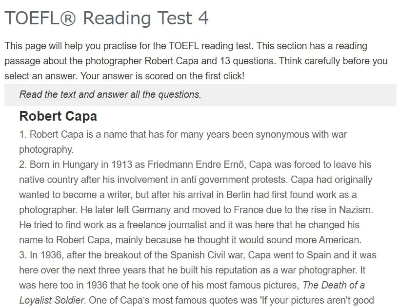 Exam English TOEFL Reading