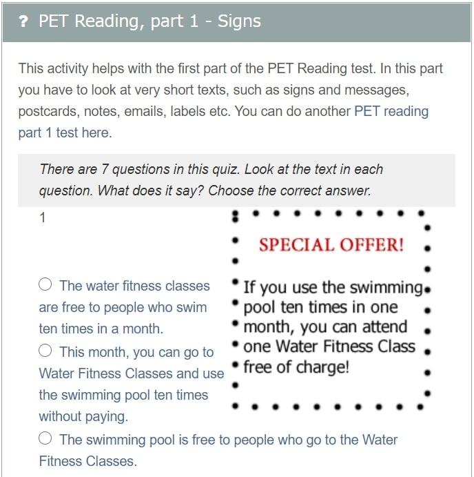 Exam English Pet Reading