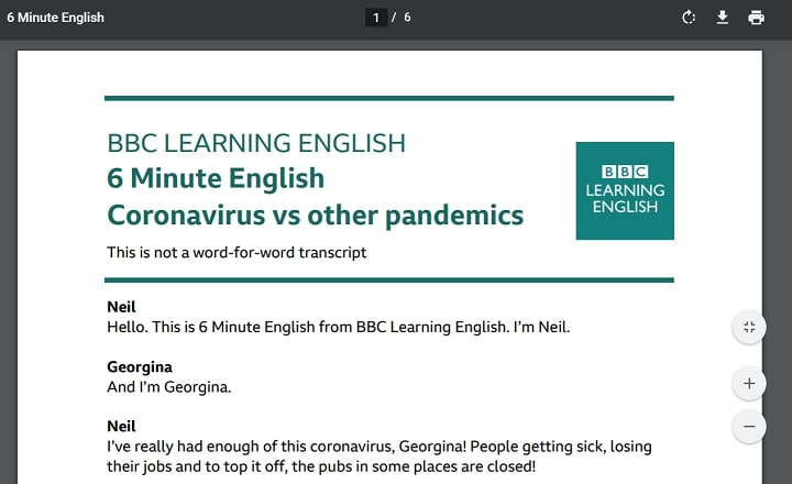 BBC learning English PDF スクリプト