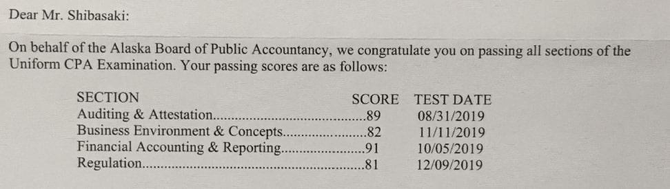 USCPA 合格 スコアレポート