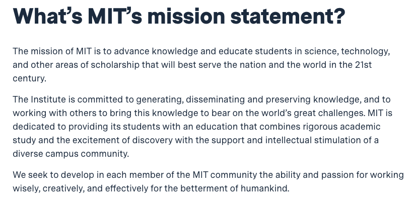 MIT mission statement