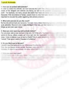 IELTSスピーキング サンプル問題 パート1 問題解答