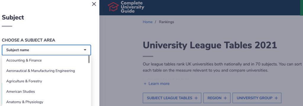 イギリス大学ラインキング 調べ方