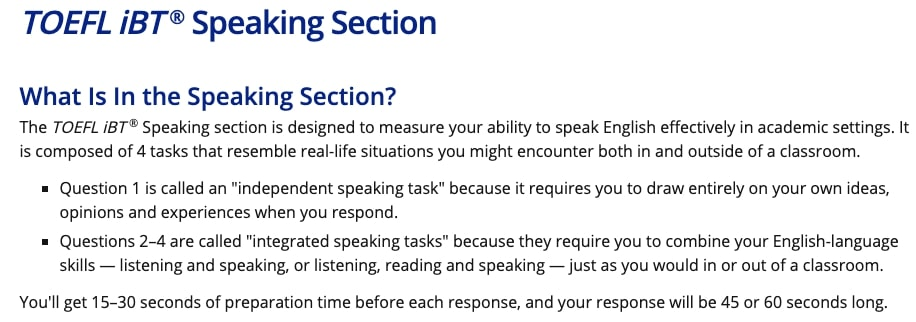 TOEFL スピーキング 問題形式