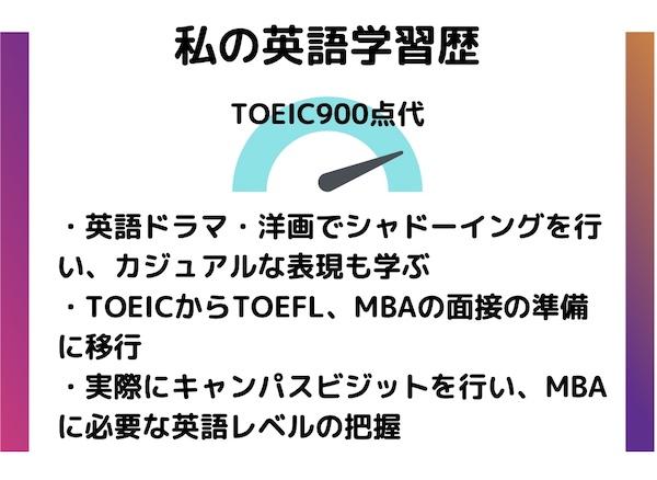 MBA英語学習 TOEIC900点代