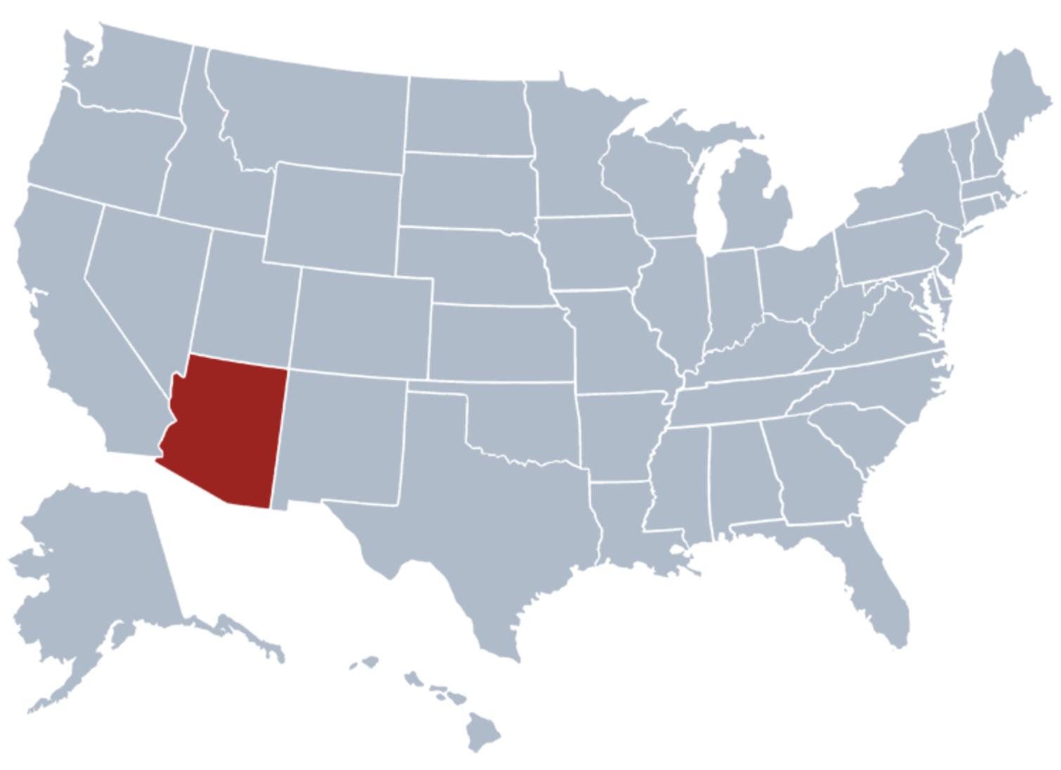 アメリカ地図ーアリゾナ州