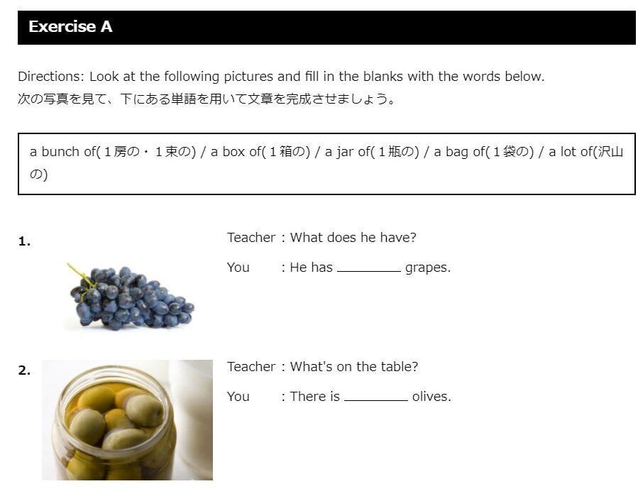 ネイティブキャンプ 文法教材 サンプル